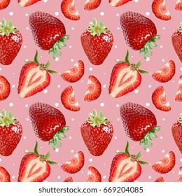 Seamless Vector Strawberries Pattern