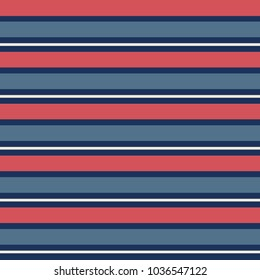 Seamless vector stripe pattern with vintage blue and red horizontal stripes in repeat.