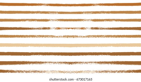 Seamless vector striped summer pattern. Yellow or ocher sailor stripes on white. Hipster paintbrush lines background. Hand painted ink brush strokes. Stylish retro vintage stripes for polo or T-shirt