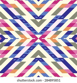 Seamless Vector Stripes Pattern for Textile Design. Stylish Modern Art. Psychedelic Mix of Rhombuses