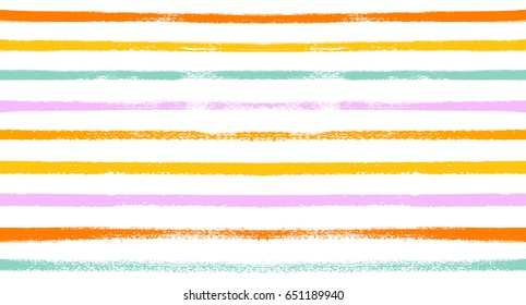 Seamless vector stripy summer pattern.  Orange, turquoise, pink, yellow sailor stripes. Hipster paintbrush lines background. Hand painted ink brush strokes. Stylish retro vintage stripes for a T-shirt