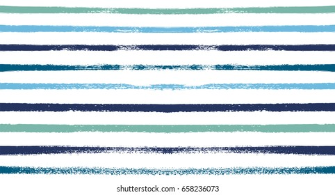 Seamless vector stripy summer pattern. Blue, turquoise, grey sailor stripes. Modern trendy hipster paintbrush line background. Ink brush strokes. Stylish retro vintage stripes for male polo or T-shirt