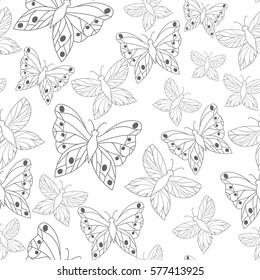 Seamless vector summer pattern with butterfly.Art illustration. Template for print.