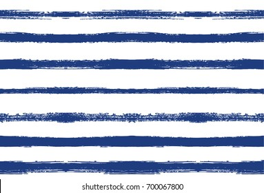 Seamless Vector Summer Pattern. Striped Hand Painted Background. Grunge Hipster Retro Sailor Stripes. Horizontal Lines Seamless Pattern. Summer of Autumn Vintage Fashion Design. Watercolor Ink Stripes