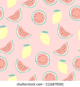Seamless vector summer pattern with watermelon and lemon