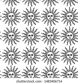 Seamless vector Sun pattern. Thin line medieval illustration of Sun with face. Astrology 10 eps background for design, fabric, textile, cover, wrapping.