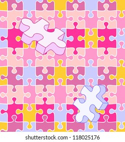 Seamless vector swatch of colorful wall-to-wall puzzle pieces align perfectly for wallpaper or background. White lines included on separate layer, so you can turn ANY pattern or color into a puzzle!