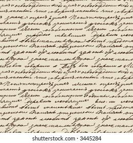 Seamless vector texture based on manuscript Leo Tolstoy