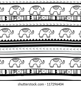 Seamless vector texture with elephants