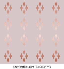 seamless vector texture, geometric rhombus pattern. rose gold, gradient luster of wavy lines. luxury template for advertising, Wallpaper, design, paper, textile.