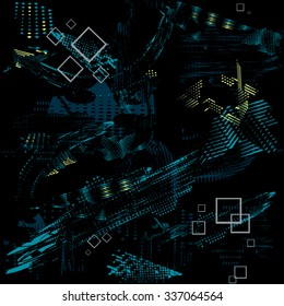 Seamless vector texture grunge pattern for guys with abstract chaos blue elements and gray squares