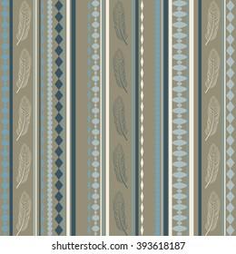 Seamless vector texture pattern. Vector stripes pattern. Vector feathers pattern. Vintage ethnic seamless backdrop.