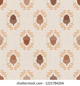 Seamless Vector Textured Acorn Damask & Rosehip Foliage in Shades of Brown, Orange, & Green. Great for Thanksgiving, seasonal decor, invitations, backgrounds, fall, autumn, fabric, textiles, wallpaper