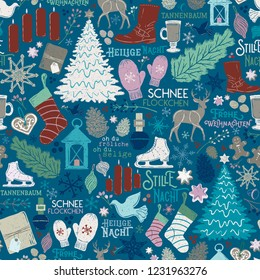 Seamless Vector Textured German Christmas Holiday Traditions in Blue, Red, Green on Shiplap Wood Planks. Great for wrapping paper, backgrounds, paper crafting, textiles, decor, parties, invitations.