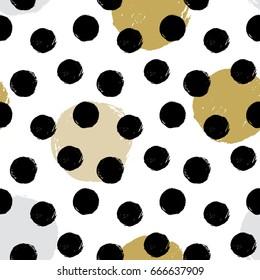 Seamless vector textured hand drawn polka dot pattern.