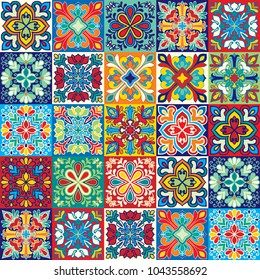 Seamless vector tile pattern. Colorful lisbon, mediterranean floral ornament pattern. Square flower mosaic. Arabic, Turkish, Pakistan, Moroccan, Portuguese motifs vector