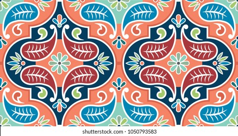 Seamless vector tile pattern. Colorful lisbon, mediterranean floral ornament pattern. Flower mosaic. Arabic, Turkish, Pakistan, Moroccan, Portuguese motifs.