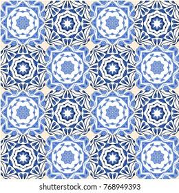 Seamless vector tile pattern. Colorful lisbon, mediterranean floral ornament pattern. Square flower blue mosaic. Islam, Arabic, Indian, Turkish, Pakistan, Chinese Moroccan, Portuguese Ottoman motifs