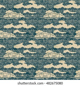 seamless vector traditional beautiful japanese cloud pattern design