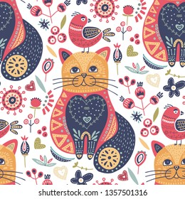 Seamless vector tribal pattern with cute cat and bird and flowers in a flat style. Vintage summer colorful ethnic illustration. Decorative kitten poster.