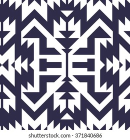 Seamless Vector Tribal Pattern for Textile Design. Stylish Monochrome Modern Art. Psychedelic Mix of Stripes and Triangles