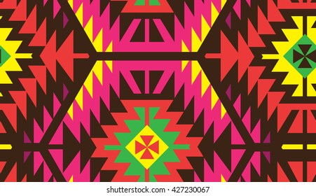 Seamless Vector Tribal Pattern for Textile Design. Stylish Ethnic Mix of Triangles in Hexagon Shapes