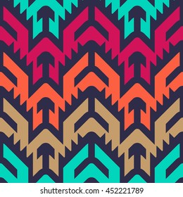 Seamless Vector Tribal Pattern for Textile Design. Stylish Chevron Modern Background