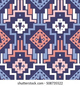 Seamless Vector Tribal Pattern for Textile Design. Stylish Mix of Stripes and Triangles