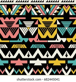 Seamless Vector Tribal Pattern for Textile Design. Stylish Chevron Modern Background. Mix of Triangles and Stripes