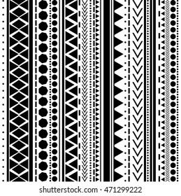 Seamless vector tribal texture pattern. Vector stripes pattern. Vintage ethnic seamless backdrop. Black and white colors.