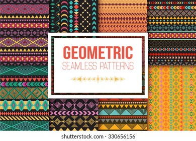 Seamless vector tribal texture set. Tribal seamless texture. Vintage ethnic seamless backdrop. Boho stripes. Striped vintage boho fashion style pattern background with tribal shape elements.