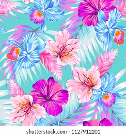 seamless vector tropical floral pattern.