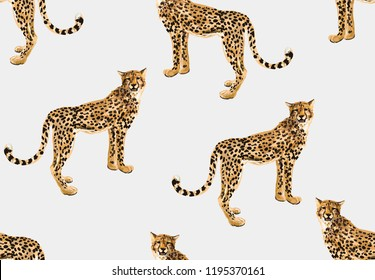 Seamless vector tropical marine pattern background with leopards isolated on white background. Abstract geometric texture. Perfect for wallpapers, web page backgrounds, surface textures