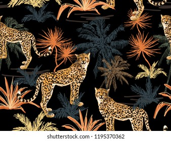 Seamless vector tropical marine pattern background with leopard, palms isolated on white background. Abstract geometric texture. Perfect for wallpapers, web page backgrounds, surface textures
