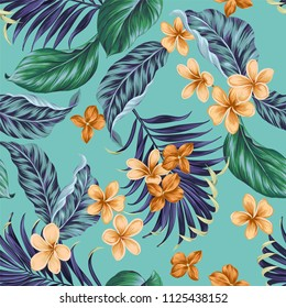 Seamless vector tropical pattern. beautiful palm leaves, ficus, plumeria, frangipani. Aloha style repeating design.
