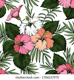 Seamless vector tropical pattern. Pink and white hibiscus flowers and palm leaves on white background. Wallpaper, textile, print design