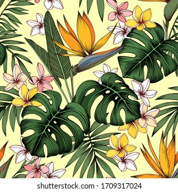 Seamless vector tropical pattern. Plumeria flowers, strelitzia, palm and monstera leaves on beige background. Wallpaper, textile, print design