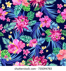 seamless vector tropical pattern. Variety of exotic flowers in an allover repeating layout. Hibiscus, palms, daisies.