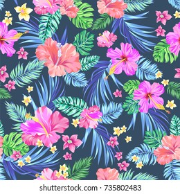 65af065d0c3403 seamless vector tropical pattern. Variety of exotic flowers in an allover  repeating layout. Hibiscus