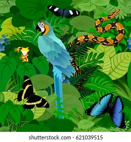 Seamless vector tropical rainforest Jungle background with ara macaw parrot, python and butterflies