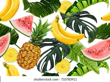Seamless vector tropical  summer pattern with  banana leaves, monstera,  pineapple, watermelon and lemon slices, banana fruit.  Perfect for wallpapers, web page backgrounds, surface textures, textile.