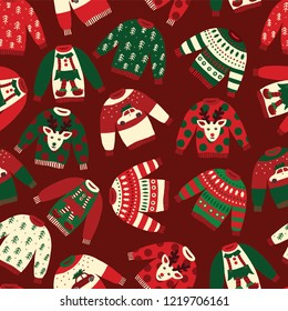 Seamless Vector Ugly Christmas sweaters pattern. Knitted winter jumpers with norwegian ornaments and decorations. Holiday background green, red, white for fabric, gift wrap, greeting cards, posters