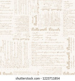 Seamless Vector Vintage Buttermilk Biscuits Textured Recipe Print in Light Brown with Aged Spots. Great for fabric, background, food bloggers, wallpaper, paper crafting, textiles, & home decor.
