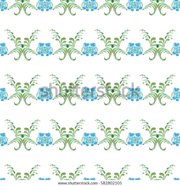 Seamless vector vintage pattern with blue flowers on a white background.