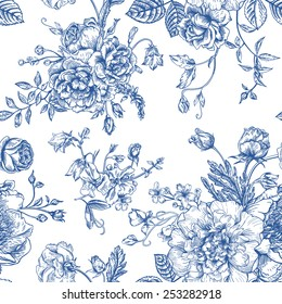 Seamless vector vintage pattern with bouquet of blue flowers on a white background. Peonies, roses, sweet peas, bell. Monochrome.
