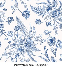 Seamless vector vintage pattern with bouquet of blue flowers on a white background. Engraving. Peony, ferns, tulips, anemones, eucalyptus seeds.