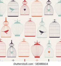 Seamless vector vintage pattern with decorative cages for wedding design isolated on white