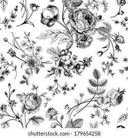 Seamless vector vintage pattern with Victorian bouquet of black flowers on a white background. Garden roses, tulips, delphinium, petunia. Monochrome.