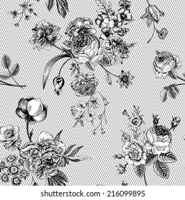 Seamless vector vintage pattern with Victorian bouquet of black flowers on a white background. Garden roses, tulips, delphinium, petunia, anemone. Monochrome. Lace.