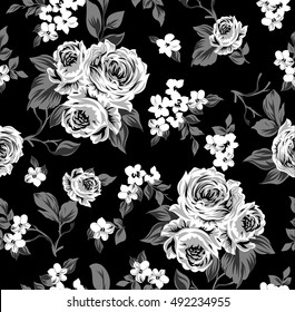 Seamless vector vintage pattern with Victorian bouquet of white flowers on a black background. White roses, tulips, delphinium with gray leaves.